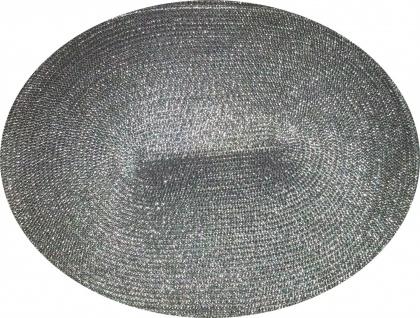 Tischset Platzmatte Silber oval Platzset 45x 33 cm