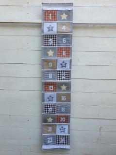Adventskalender zum Befüllen Filz Grau Natur Patchworkoptik 150 H x 29 B