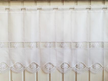 Scheibengardine Landhaus Weiß Häkelbordüre 30 cm 45 cm oder 60 cm Hoch ab 1 Meter