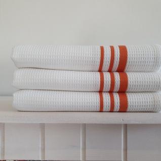 Geschirrtuch Waffelpikee Baumwolle 3 er Set 50x70 Weiß Orange