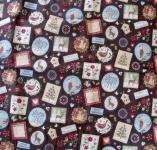 Tischdecke Weihnachten Braun mehrfarbig Winter Wonderland 85x85
