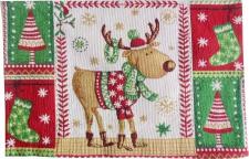 Platzmatte Tischset 30x50 Stoff Weihnachten Rudolf