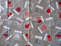 Tischdecke Weihnachten Grau Rot 85x85 Bilderweihnacht