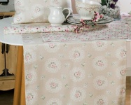 Tischläufer Rosen Natur Pastell 50x150