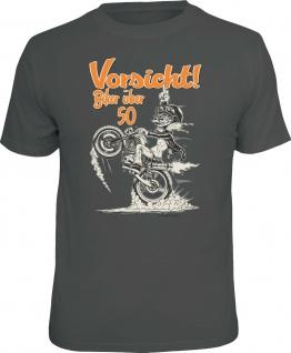 Geburtstag T-Shirt Vorsicht Biker über 50 Motorrad Shirt Geschenk geil bedruckt
