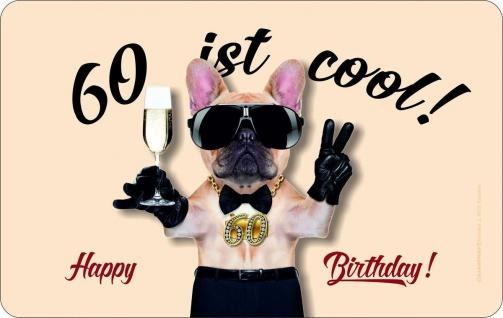 Frühstücksbrett - 60 ist cool - Geburtstag Schneide Brettchen Geschenk Brett