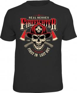 Herren T-Shirt bedruckt - Firefighters Real Heroes lustige Geschenke für Männer