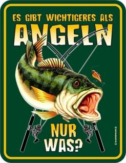 Fun Schild Alu Blechschild bedruckt + geprägt - Wichtigeres als Angeln - Angler