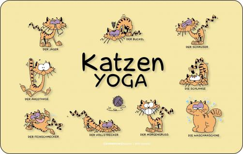 Frühstücksbrettchen Katzen Yoga