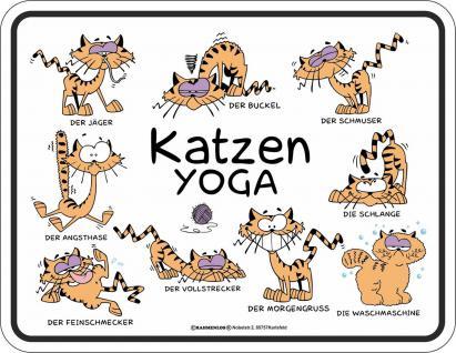 Fun Schild - Katzen Yoga Blechschild