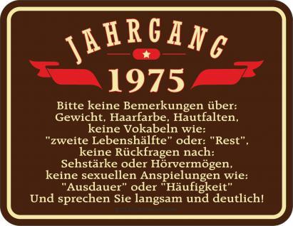 Geburtstag Schild - Jahrgang 1975 Blechschild - Vorschau