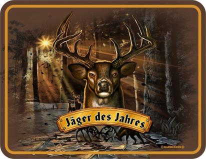 Fun Schild Alu Blechschild bedruckt + geprägt - Jäger des Jahres - Jagd Geschenk