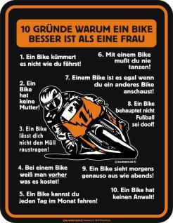 Blechschild Gründe Bike besser als Frau Fun Schild Alu geprägt bedruckt rostfrei