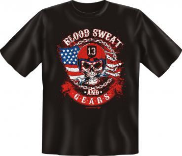Biker T-Shirt Blood Sweat and Gears Motorrad Geburtstag Fun Shirts geil bedruckt