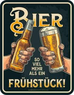 Männer Funschild - Bier mehr als Frühstück - Sprüche Schilder Blechschild Schild - Vorschau