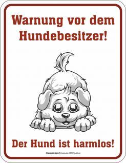 Fun Schild Warnung vor dem Hundebesitzer Alu Blechschild geil bedruckt Geschenk