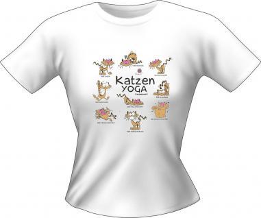 Girlie Shirt Katzen Yoga Lady-Shirt Geburtstag Geschenk T-Shirt geil bedruckt