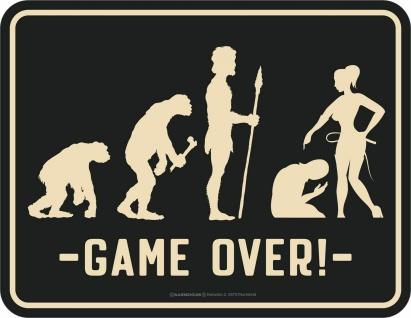 Hochzeit Schild - Evolution Ehe-Mann - Game over - Blechschild bedruckt Geschenk