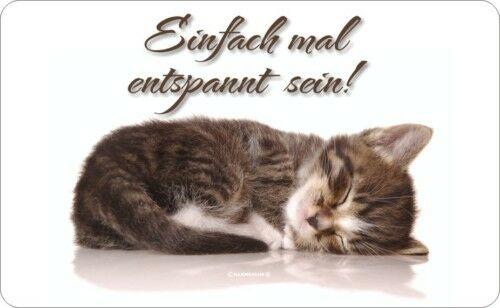 Frühstücksbrettchen Schneidebrett - Katze einfach mal entspannt - Geschenk Brett
