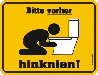 Fun WC Schild - Bitte vorher hinknien - Vorschau