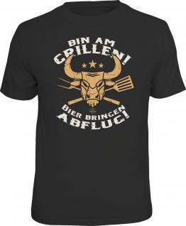 Grill T-Shirt Bin am Grillen Bier Abflug Shirt Geburtstag Geschenk geil bedruckt