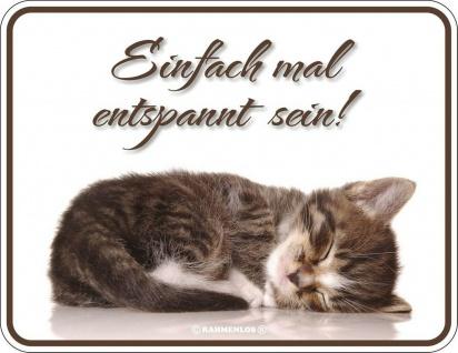 Humor Kühlschrankmagnet Katze einfach mal entspannt Kühlschrank Magnet Schild