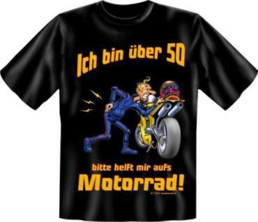 geil bedruckte Geburtstag Fun T-Shirts Shirt - 50 mit Motorrad - Biker Geschenk