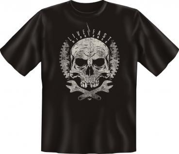 Biker T-Shirt - Live fast Ride free Motorrad Geburtstag Fun Shirts geil bedruckt