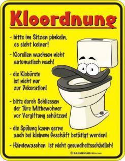 WC Schild Fun Blechschild geil bedruckt + geprägt - Klo Ordnung Kloordnung