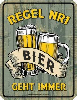 Männer Funschild - Regel 1 Bier geht immer - Sprüche Schilder Blechschild Schild