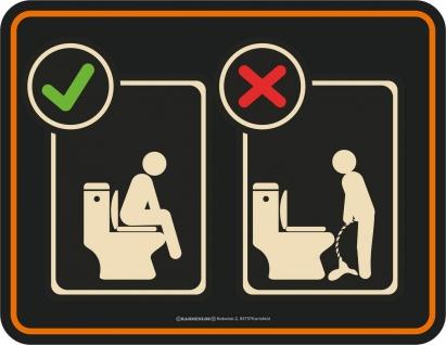 WC / Toilette Fun Schild - Klopics Im sitzen pinkeln - Alu Blechschild bedruckt