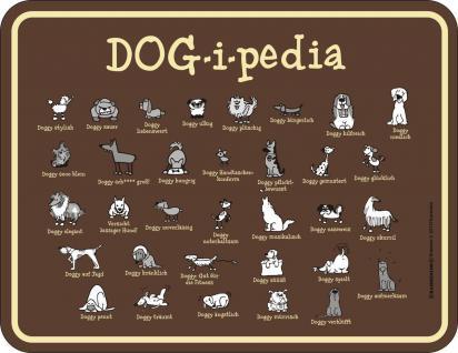 Blechschild Hund DOG-i-pedia Fun Schild Alu geprägt bedruckt rostfrei