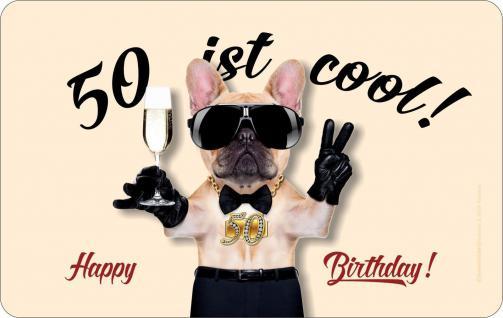 Frühstücksbrett Geburtstag 50 ist cool Brettchen geil bedruckt Brett Geschenk