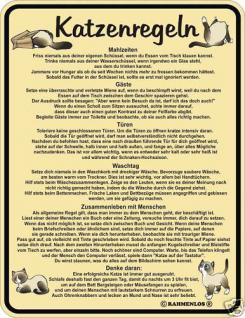 Fun Schild Alu Blechschild bedruckt + geprägt - Katzenregeln Katze - Geschenk