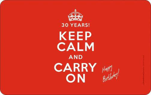 Frühstücksbrettchen 30 Jahre Keep Calm Brettchen geil bedruckt Geburtstag Brett