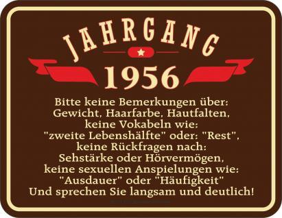Geburtstag Blechschild Jahrgang 1956 Geschenk Fun Schild Alu geprägt bedruckt