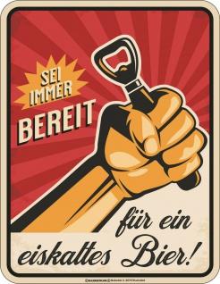 lustige Sprüche Schilder - Bereit für ein eiskaltes Bier - Blechschild Geschenk