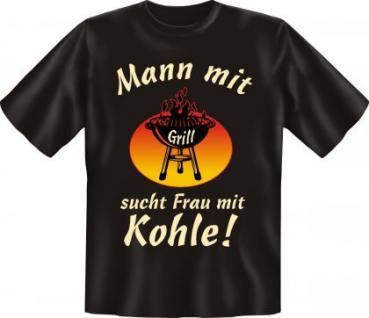Fun T-Shirt - Mann mit Grill sucht Frau