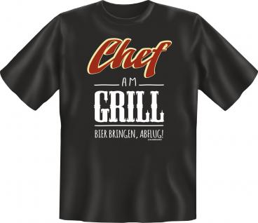 Fun T-Shirt Chef am Grill Bier bringen Geburtstag Geschenk Shirt geil bedruckt