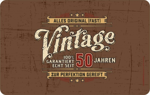 Frühstücksbrettchen - Vintage seit 50 Jahren - Geburtstag Geschenk Brettchen