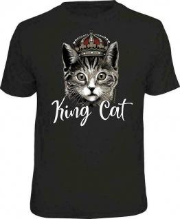 Herren Fun T-Shirt bedruckt - King Cat - lustige Geschenke für Männer T Shirts