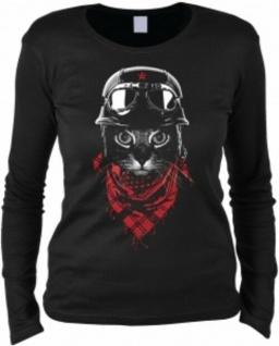 Damen Langarmshirt Biker Katze Shirts 4 Cats Geburtstag Geschenk cool bedruckt