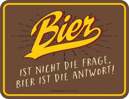 Fun Schild Bier ist die Antwort Alu Blechschild geprägt geil bedruckt Geschenk