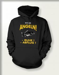 Angler Sweatshirt mit Kapuze mit Angel Motiv - Bin am Angeln - geil bedruckt