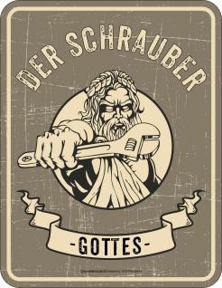 Fun Schild - Der Schrauber Gottes - Alu Blechschild geprägt bedruckt Geschenk