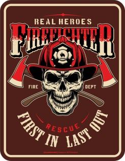 Feuerwehr Schild - Real Heroes Firefighter - Geschenk Alu Blechschild bedruckt