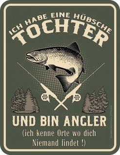 Vatertag Schild - Angler und hübsche Tochter - Alu Blechschild bedruckt Geschenk