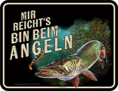 Angler Schild - Bin beim Angeln - Sprüche Schilder Männer Geschenk Blechschild