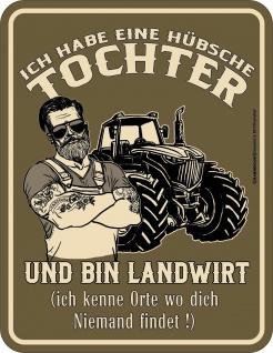 Vatertag Schild - Landwirt und hübsche Tochter - Blechschild bedruckt Geschenk