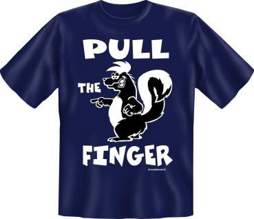 T-Shirt - Skunk Pull the Finger - Stinktier Fun Shirts Geschenk geil bedruckt